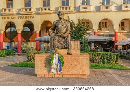 Thessaloniki, Greece - October 27 2019: Aristotle Statue With Deposit Wreath By Students At Aristote