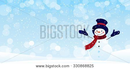 Merry Christmas Greeting Card With Copy Space. New Year Banner For Greetings And Design. Cute Snowma