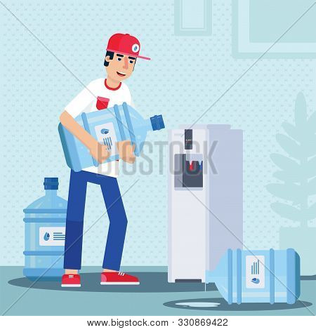 Bottled Water Delivery Flat Vector Illustration. Man In Uniform Standing Near Cooler With Hot And Co