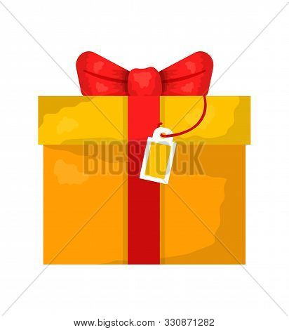 Gift Box With Bow Flat Vector Illustration. New Year Yellow Box Wrapped In Paper With Red Ribbon Iso
