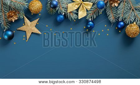 Wide Arch Shaped Christmas Border On Blue Background. Christmas Banner Mockup, Postcard Template. Fl