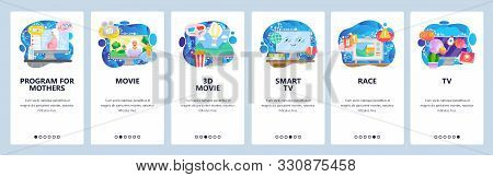 Mobile App Onboarding Screens. Television Show, Tv Set, Sport News, 3d Movies And Cinema. Menu Vecto