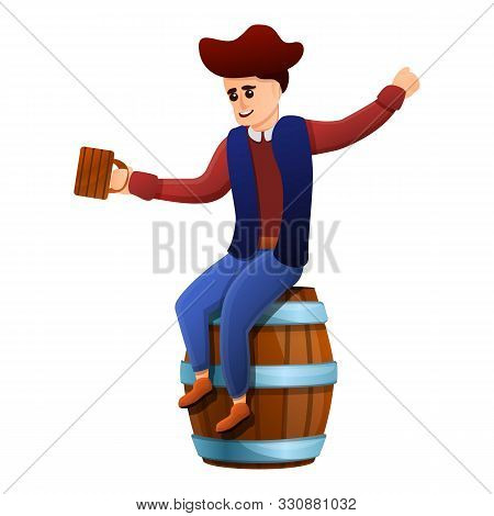 Drunk Pirate On Barrel Icon. Cartoon Of Drunk Pirate On Barrel Vector Icon For Web Design Isolated O