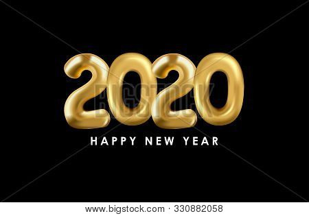 2020 Gold Text Isolated On Black Background, New Year 2020, 2020 Text For Calendar New Years, Happy