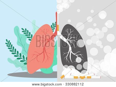 Lungs Illustration In A Very Professional And Creative Design, The Design Shows One Sided Normal Lun