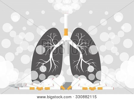 Lungs Illustration In A Very Professional And Creative Design, The Design Shows The Smokers Lung In