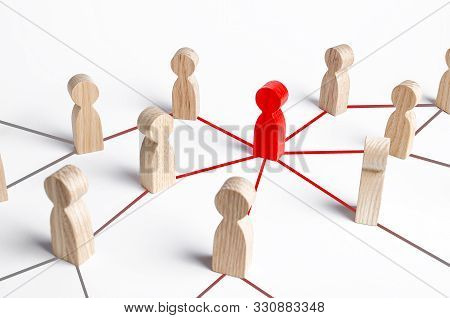 The Red Figure Of A Person Spreads His Influence To People Through A Communication Network. Followin