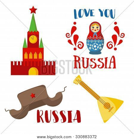 Russia Icon, Badge Set. Vector Collection - Russian Culture, Symbols, Cathedral, Russian Doll, Balal