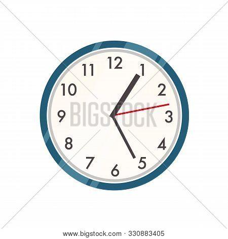 Wall Clock Vector Illustration. Contemporary Timepiece, Interior Decor Item. Modern Plastic Watch Co