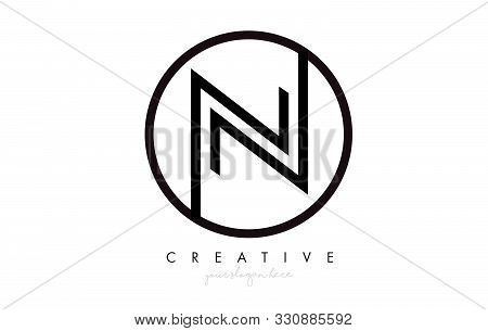 N Letter Icon Logo Design With Monogram Creative Look. Letter Circle Line Design Vector Illustration