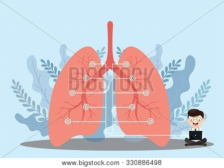Lung Organ Anatomy Symbol For Health And Medical Illustrations. Flat Tiny Lungs Healthcare Persons C