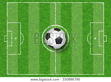 Realistic Soccer Ball On Football Field With Grass Texture, Top View, Vector Illustration