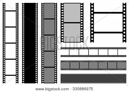 Film Strips Collection. Old Retro Cinema Strip. Vector Photo Frame.