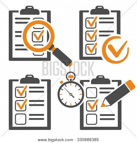 Set Icons Education Test With Pencil, Stopwatch, Magnifying Glass, Clipboard With Checklist. Online