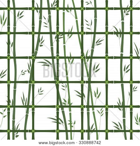 Green Bamboo Lattice Pattern With Bamboo Stems And Leaves. Vector Illustration Of A Closed Bamboo Fo