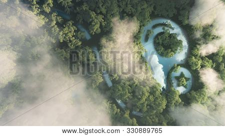 Eco Travelling Concept. 3d Rendering Of Dense Misty Amazonian Rainforest With Map Point Sign In A Sh