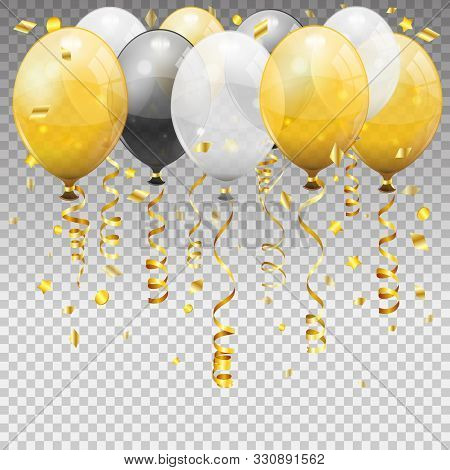 Birthday With Balloons, Golden Streamer Twisted Ribbons. Birthday Carnival, Christmas Party, New Yea