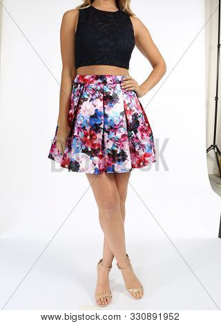 Lace Top To Floral Skirt Two-piece Ball Gown With White Background, Lace Top To Floral Skirt Two-pie