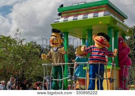 Orlando, Florida. October 24, 2019. Bert, Ernie And Telly Monster In Sesame Street Party Parade At S