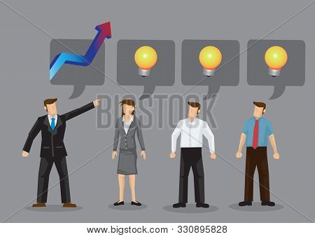 Employer Demand Ideas From His Employees To Rise The Company Revenue. Concept Of Corporate Cooperati