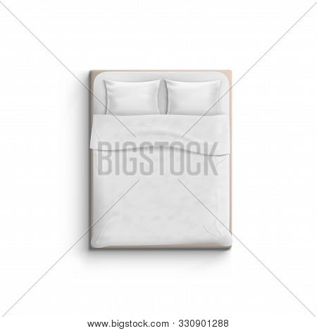 Realistic White Bed With Pillows Top View
