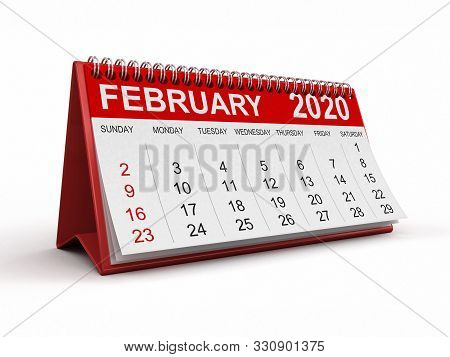 3d Illustration. Calendar -  February 2020  (clipping Path Included)