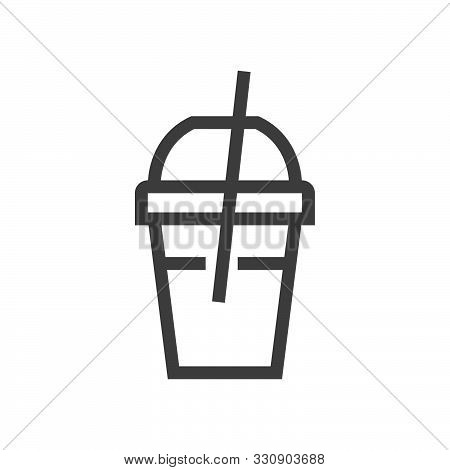Paper Cup With Lid And Tube Colorful Round Icon. Tea Glass Tube Icon, Great Design For Any Purposes.