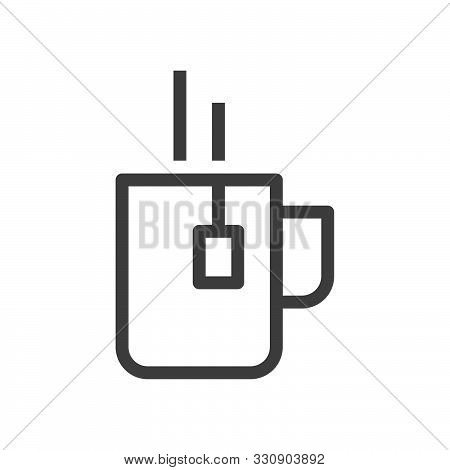 Cup Of Tea With Bag Symbol. Linear Style Icon. Flat Design Element. Editable Stroke. 48X48 Pixel Per