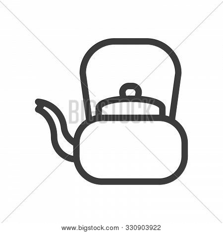 Retro Teapot. Tea Ceremony Linear Icon. Aluminum Kettle. Linear Style Icon. Flat Design Element. Edi
