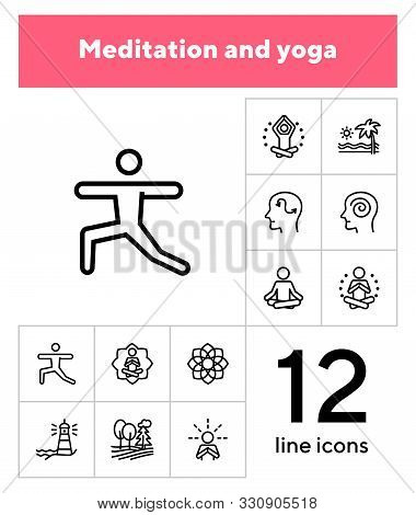 Meditation And Yoga Line Icon Set. Health, Wellness, Leisure. Buddhism Concept. Can Be Used For Topi