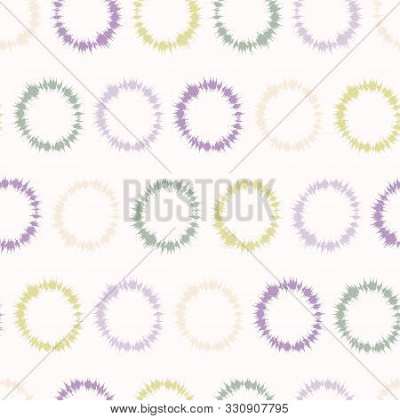 Dotty Shibori Tie Dye Sunburst Circle Stripe Background. Seamless Pattern On Bleached Resist White T