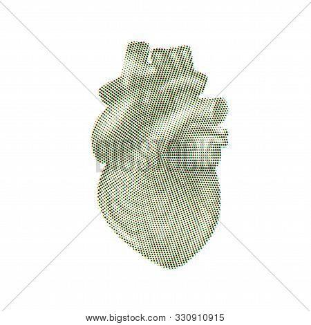 Vintage Style Halftone Print Realistic Human Heart
