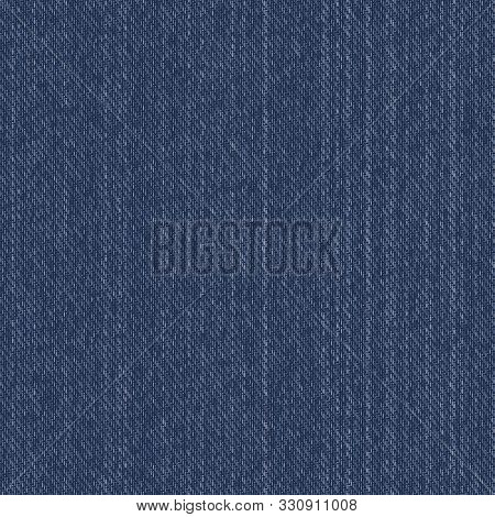 Denim Fabric Texture Seamless Repeat Vector Pattern Swatch. Traditional Indigo Blue Color.