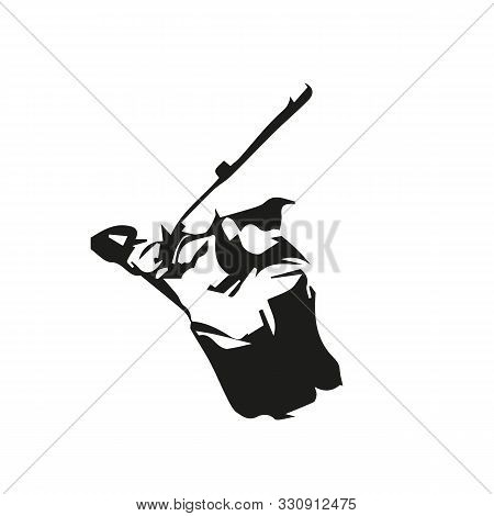 Baseball Player, Isolated Vector Silhouette, Batter Ink Drawing