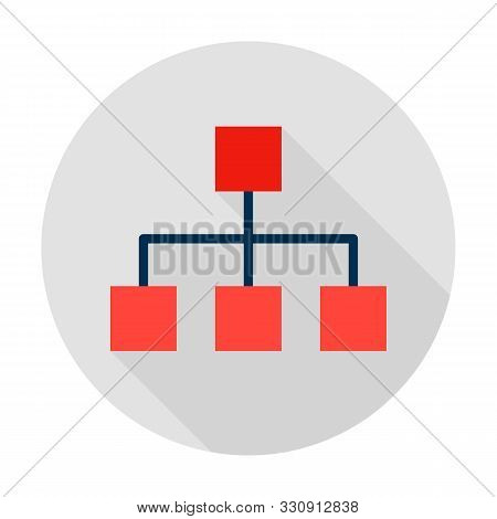 Classification Graph Circle Icon. Vector Illustration With Long Shadow. Business Item.