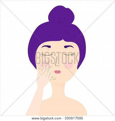 A Young Girl With Purple Hair Is Applying A Coffee Scrub To Her Face. Coffee Exfoliation. Girl With