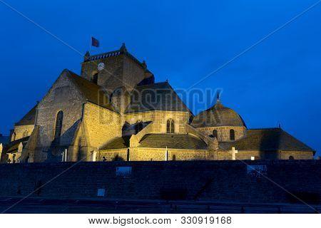 Barfleur, Manche / France - 16 August, 2016: The Saint Nicolas Church In Barfleur Nighttime View