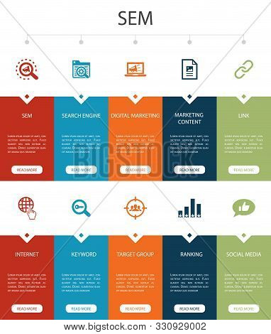 Sem Infographic 10 Steps Ui Design.search Engine, Digital Marketing, Content, Internet Simple Icons