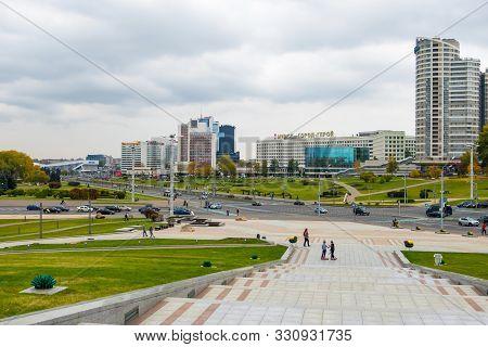 Minsk, Belarus - October, 13, 2019: View Of Winners Avenue Or Pobediteley Avenue In District Nemiga