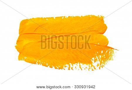 Paint Brush Stroke Texture Ochre Yellow Watercolor Isolated On A White Background