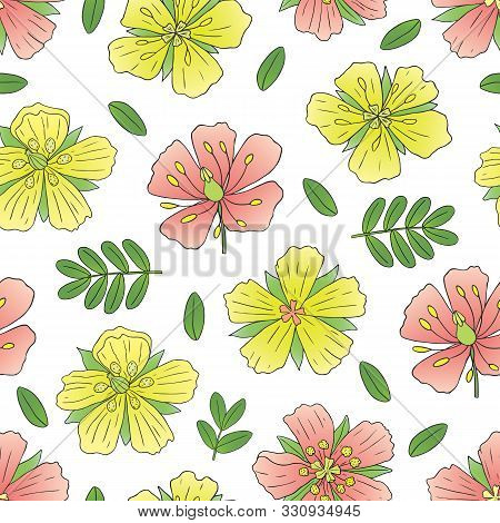 Medicinal Herbs Collection. Vector Seamless Pattern With A Plant Tribulus Terrestris On A Light Back