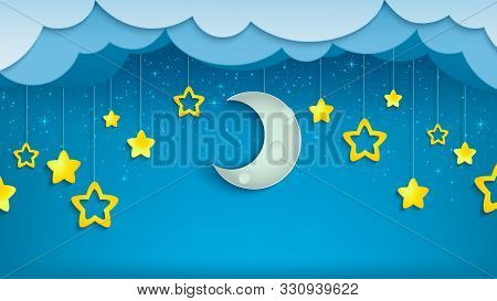 Night Sky With Half Of Moon And Stars. Crescent With Clouds In Evening Scene. Midnight Time. Vector
