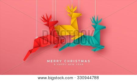 Merry Christmas And Happy New Year Greeting Card Illustration Of Colorful Paper Craft Origami Reinde