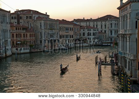 View Of Famous Grand Canal In Venice, Italy. The Beautiful View Of Venice From The Ponte Dell' Accad