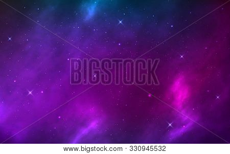 Space Background Realistic With Shining Stars. Cosmic Texture With Nebula, Milky Way And Stardust. M
