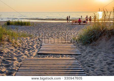 Narva - Joesuu, Estonia - July 27, 2019: Public Beach On The Baltic Sea. Narva-joesuu - Seaside Reso