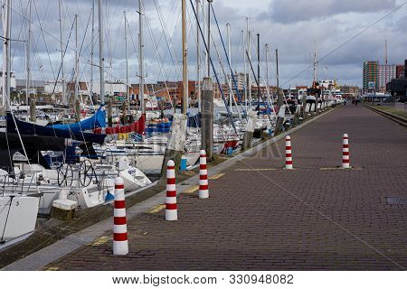 27-october - 2019, Scheveningen, The Hague, Netherlands, Europe. Sailing Boats, Buoys And Wooden Poo