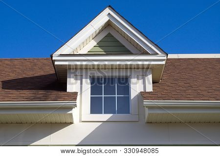 House Brown Roof Skylight Window Residential Home Facade