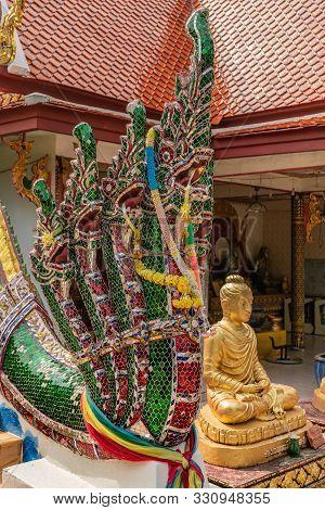 Ko Samui Island, Thailand - March 18, 2019: Wat Phra Yai Buddhist Temple On Ko Phan. Colorful Gemsto