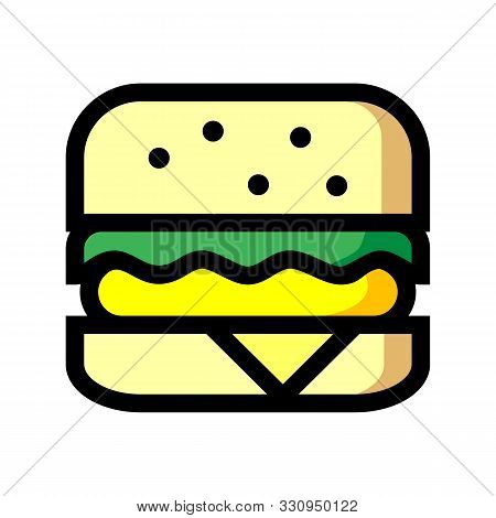 Burger Icon Isolated On White Background From Take Away Collection. Burger Icon Trendy And Modern Bu